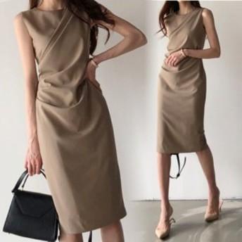 LAZA 【ブラウン/フリーサイズ】 フロントクロス ノースリーブ ワンピース ドレス シンプル エレガント ひざ丈 上品 きれいめ