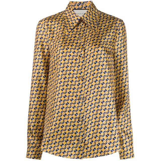 Gucci プリント シルクシャツ - イエロー