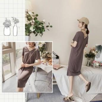 【ブラック/グレー】 フリーサイズ オルチャンファッション ワンピース カジュアル 韓国ファッション 背中見せ Vネック Aライン ひざ丈