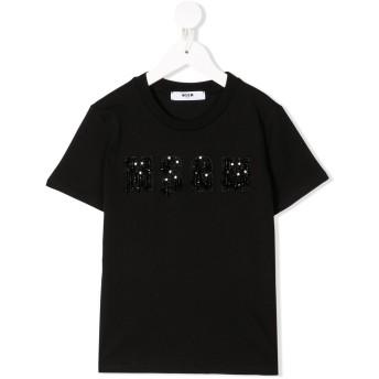Msgm Kids ビーズ ロゴ Tシャツ - ブラック