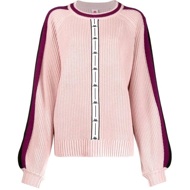 Kappa ロゴストライプ セーター - ピンク