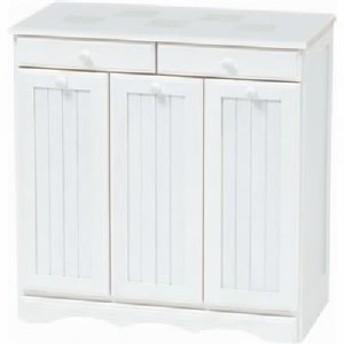 ダストボックス 木製おしゃれゴミ箱 3分別 15Lペール3個/キャスター付 移動可能 車輪付き き 白(ホワイト) 【完成品】 白  送料無料
