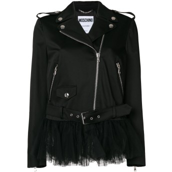 Moschino チュールパネル ライダースジャケット - ブラック