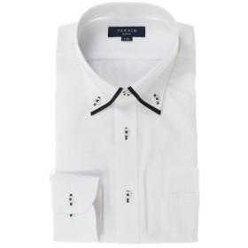 (TAKA-Q/タカキュー)形態安定抗菌防臭スリムフィット ドゥエマイターカラー長袖シャツ/メンズ ホワイト