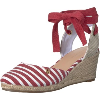 Tommy Hilfiger Women's Nowell Espadrille Wedge Sandal, red, 10 M US