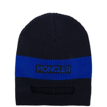 Moncler Kids two-tone knitted hat - ブラック