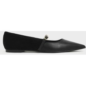 【2019 FALL】コーデュロイメリージェーン バレリーナフラット / Corduroy Mary Jane Ballerina Flats (Black)