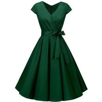 beryloveレディースワンピーススイングドレス短袖膝丈Aライン着痩せリボン付きⅤネックパーティーフォーマルお呼ばれ二次会ForestGreen XL