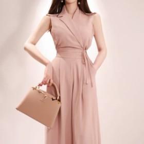 韓国 ファッション オールインワン パンツドレス ワイドパンツノースリーブ 大人可愛い フォーマル セクシー フェミニン  結婚式 二次会