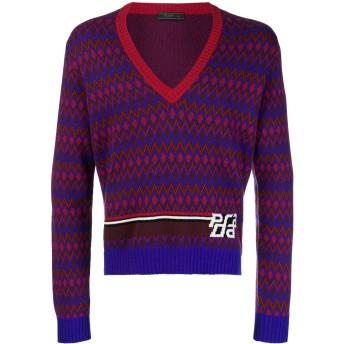 Prada インターシャ セーター - ブルー