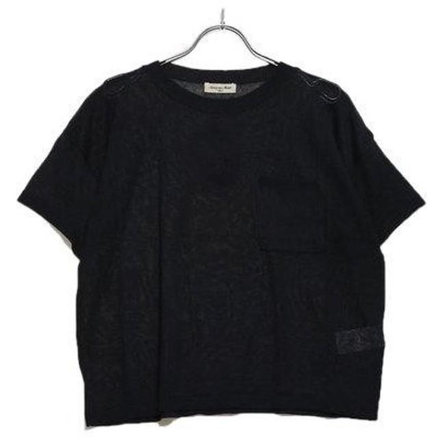 サマンサ モスモス アウトレット Samansa Mos2 outlet 強撚綿ACポケ付ニットTシャツ (ネイビー)