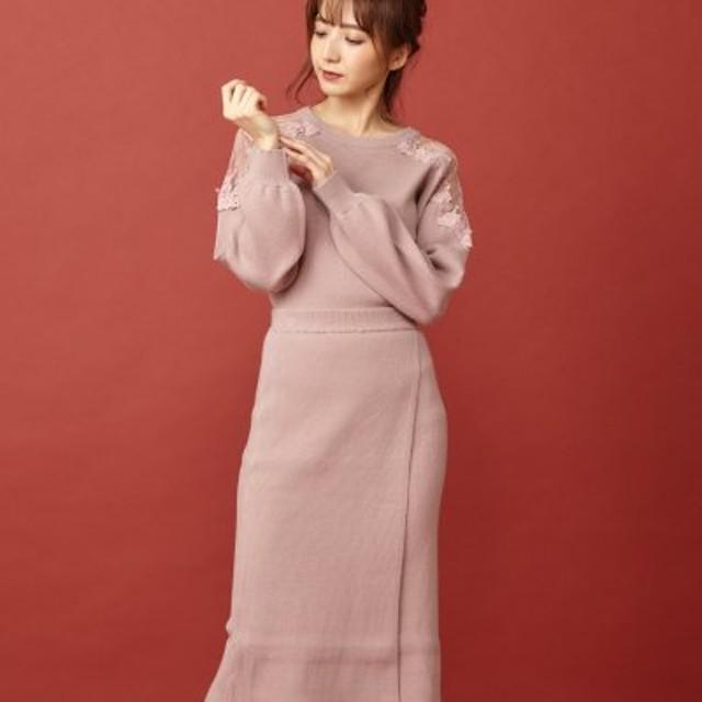(MIIA/ミーア)【セットアップ対応商品】ラップ風タイトニットスカート/レディース ピンク
