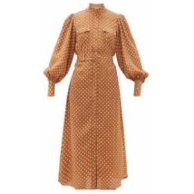 ジマーマン Zimmermann レディース ワンピース ワンピース・ドレス Espionage polka-dot silk shirtdress Brown