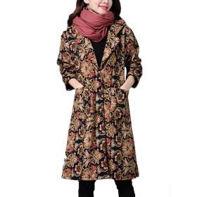 ZUOMAレディース 綿入れ上着 ロングコート 民族風 花柄 フード オーバーサイズ (L, フラワー(綿入れ))