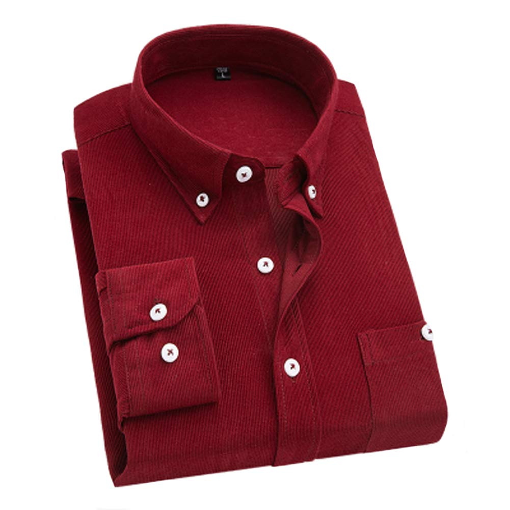 YUNY Men Corduroy Plus Size Button-Collar Long Shirt with Pockets Wine Red 2XL