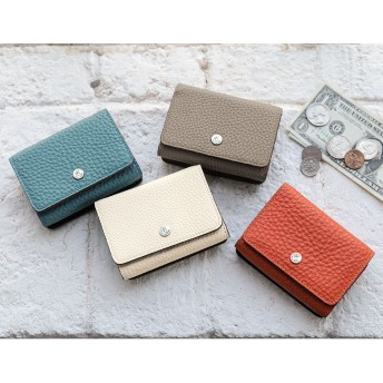PELLE BORSA/ペレボルサ フラット3つ折り財布トープ