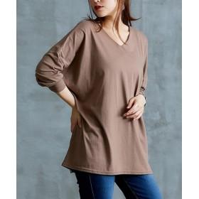 【ゆったりワンサイズ】抜け感ドルマン長袖Tシャツ (Tシャツ・カットソー)(レディース)T-shirts