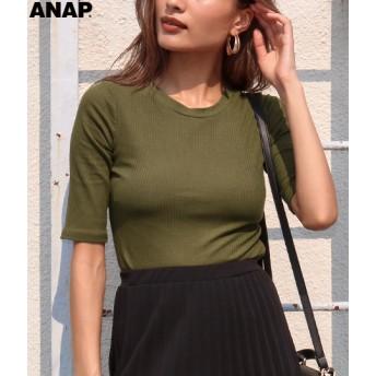 ANAP(アナップ)シンプルリブクロップドトップス
