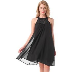 Yidarton ワンピース ドレス スカート レディース 袖なし レース シフォン 膝丈 夏 涼しい (L, ブラック)