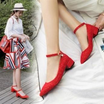 春夏19831 靴 レディースシューズ 履きやすい 人気 ローヒール 結婚式 パンプス 美 ウエディング用 チャンキーヒール