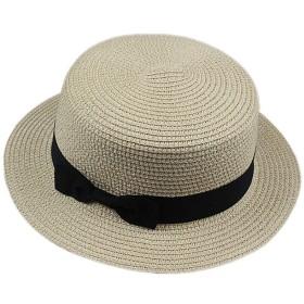 YideaHome カンカン帽 レディース リボン 帽子 カンカン帽子 かんかん帽 かんかん帽子 ストローハット 麦わら帽子 麦わら帽 むぎわら