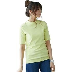 [nissen(ニッセン)] UVカット 綿100% フライス素材プチハイネック5分袖 Tシャツ レディース ソフトイエロー LL