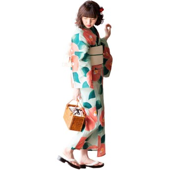 [ KIMONOMACHI ] オリジナル 大きいサイズ 浴衣3点セット 浴衣セット/レディース/浴衣/長尺帯_046963_ /下駄_0447252_ /4L
