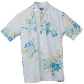 [MAJUN (マジュン)] 国産シャツ かりゆしウェア アロハシャツ 結婚式 メンズ 半袖シャツ ボタンダウン フラワーバード グリーン 5L