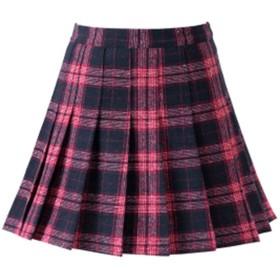 (グードコ) 起毛ショートスカート レディース チェック柄 厚手 ミニスカート Aライン フレア スクール ファッション 女子高生 可愛い お洒落 レッドM