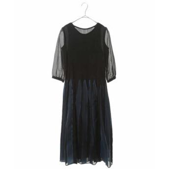 HIROKO BIS / ヒロコビス ◆シャーリングデザインストライプドレス