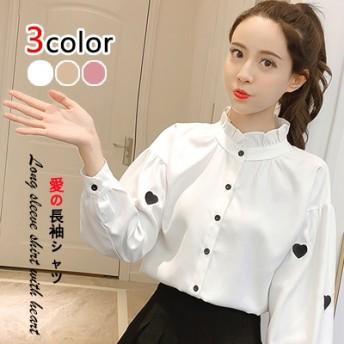 2019年新型秋装韩版爱の刺繍灯笼の长袖はゆったりとしていて细くてさわやかなブラウスのブラウスです
