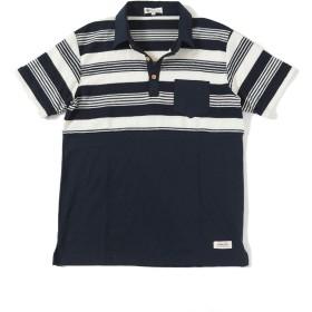 MENZ-STYLE (メンズスタイル)パイル切り替えランダムボーダー半袖ポロシャツ(ネイビーボーダー M)