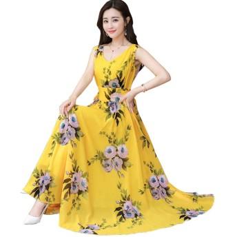 夏 シフォンドレス Vネック ウェスト 気質 スリム 洋風 ドレス シフォン 余暇 休日 海辺 ビーチスカート 印刷 エレガントなロングスカート M-3XL (XL, イエロー)