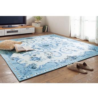 プリントセンターラグ - セシール ■カラー:ブルー ■サイズ:185×130cm,185×185cm