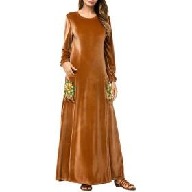 ポケットの女性のエレガントな長袖の花刺繍パッチワークマキシドレスで (色 : ブラウン, サイズ : XL)