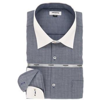 【GRAND-BACK:トップス】【大きいサイズ】renoma HOMEE (レノマ オム)形態安定ワイドカラー長袖ビジネスドレスシャツ