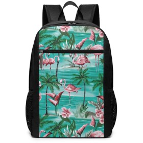 Flamingo Palm Tree Daypack with Padded Straps、Travel Hiking&Camping Rucksack Large Capacity School Shoulder Book Bags Multipurpose Anti-窃盗for Women男性