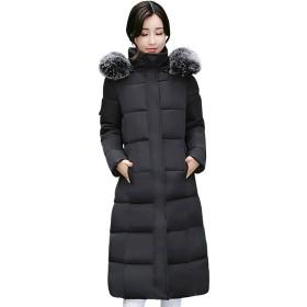 【HAFOS(ハフォス)】コート ダウンコート レディース 厚手コート シンプル 冬 アウター 軽量 ロングコート ダウンジャケット ライトダウン 着痩せ 中綿 フード付き 3色 (ブラック, XL)