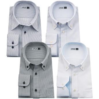 FLiC長袖 ワイシャツ 4枚 セット 7種類 豊富な18サイズ S(78)スリム/flm-l01-a-ss-78-201511-e