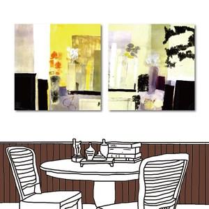 24mama掛畫-二聯式  抽象 植物 花卉無框畫-50x50cm