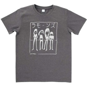 【ノーブランド品】 カタカナ ラモーンズ 2 Tシャツ 音楽 バンド ロック チャコール (M)