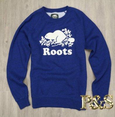 [PS] 3號5樓 全新正品 Roots 女款圓領刷毛長T 基本大海狸 寶藍色
