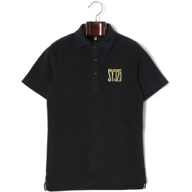 【77%OFF】パイル調 ロゴデザイン 半袖ポロシャツ ブラックxゴールド s