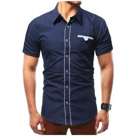 VITryst メンズカジュアルショートスリーブスタンダードフィット偽ポケットスクエアカラーワークシャツ Navy Blue M