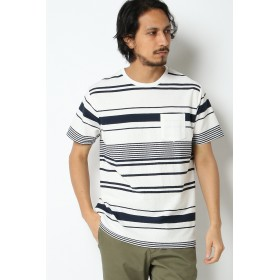 Tシャツ - ikka 梨地ボーダーTシャツ