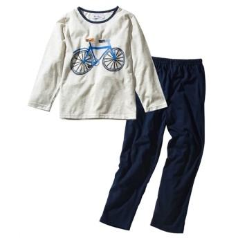 自転車プリント長袖パジャマ(男の子 女の子 子供服 ジュニア服) キッズパジャマ