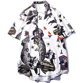 Yikaifei アロハシャツ メンズ ビーチシャツ 半袖シャツ 速乾 超軽量 プリントシャツ 夏 和柄シャツ ハワイアンシャツ 印刷 ビーチ リゾート 海 カジュアル 父の日ギフト S ホワイト-1
