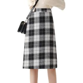 [美しいです]冬 膝丈 チェック柄 タイトスカート ハイウェスト ロングスカート Aライン ギンガム 着痩せ スカート 気質 スカート ブラックXL