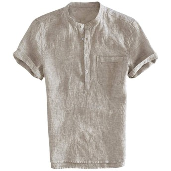 メンズ ティーシャツ 亜麻 Meilaifushi 男の子 サーマル 軽薄 ボタン 半袖 通気 2019 人気 夏服 吸汗 無地 リネン 日系 トップス カットソー ポケット付 tシャツ 通学 普段着 0ネック 日常 通勤 個性的 シンプル カジュアル 上着