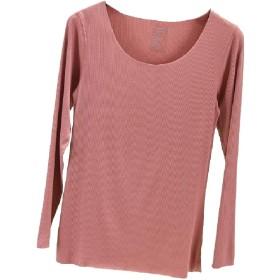cheelot 女性竹繊維ベース層純粋なカラー基本ティートップTシャツ Pink S